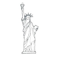 statue of liberty outline design machine embroidery design america usa patriotic red blue white stripes 4th july fourth of july independence day art pes hus dst needle passion embroidery npe