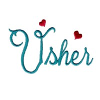 usher script lettering machine embroidery design love wedding heart party relatives art pes hus dst needle passion embroidery npe