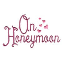 on honeymoon script lettering with hearts machine embroidery design love wedding heart party relatives art pes hus dst needle passion embroidery npe