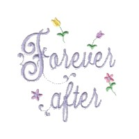 forever after script lettering with small flowers machine embroidery design love wedding heart party relatives art pes hus dst needle passion embroidery npe