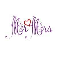 mr & mrs script lettering machine embroidery design love wedding heart party relatives art pes hus dst needle passion embroidery npe