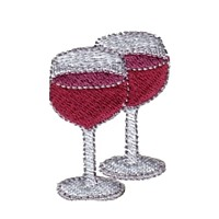 machine embroidery design two wine glasses beverage alcohol drink grapes grape vine grapevine bottle art pes hus dst needle passion embroidery npe
