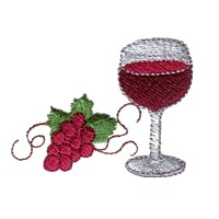 machine embroidery design wine glass beverage alcohol drink grapes grape vine grapevine bottle art pes hus dst needle passion embroidery npe