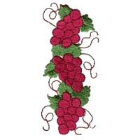 machine embroidery design grapes fruit wine beverage alcohol drink grapes grape vine grapevine bottle art pes hus dst needle passion embroidery npe