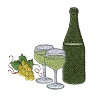 machine embroidery design wine bottle and glasses beverage alcohol drink grapes grape vine grapevine bottle art pes hus dst needle passion embroidery npe