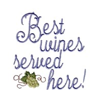 machine embroidery design best wines served here lettering for apron wine beverage alcohol drink grapes grape vine grapevine bottle art pes hus dst needle passion embroidery npe