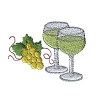 two wine glasses machine embroidery design wine beverage alcohol drink grapes grape vine grapevine bottle art pes hus dst needle passion embroidery npe