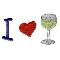 i heart wine machine embroidery design wine beverage alcohol drink grapes grape vine grapevine bottle art pes hus dst needle passion embroidery npe