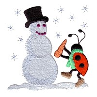 machine embroidery design ladybug ladybird snowman carrot nose insect animal winter snow fun art pes hus dst needle passion embroidery npe