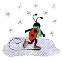 machine embroidery design ladybug ladybird skating ice winter sport snowing insect animal winter snow fun art pes hus dst needle passion embroidery npe