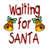 waiting for santa lettering with christmas bells and bows machine embroidery design art pes hus jef dst exp needle passion embroidery
