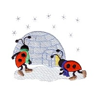 machine embroidery design ladybug ladybird igloo iglu insect animal winter snow fun art pes hus dst needle passion embroidery npe