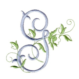 ... g machine embroidery design alphabet script rose leaves scroll abc a b c letter lettering monogram monogramming art ...
