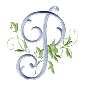 p machine embroidery design alphabet script rose leaves scroll abc a b c letter lettering monogram monogramming art ...